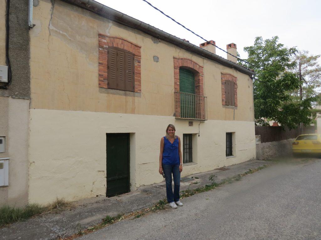 Maria in front of Navas de Riofrio house