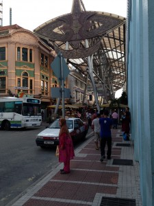 Elaborate metal canopy covering street of Kuala Lumpur Central Market Area