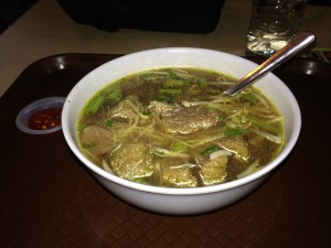 Delicious Soup for my Dinner (meatballs, noodles, scallions) - can't remember the name)