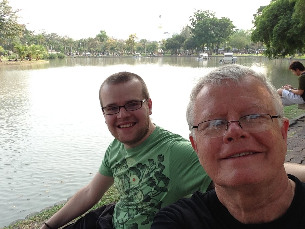 Sitting by the lake at Chatuchak Park, a nice respite from shopping!