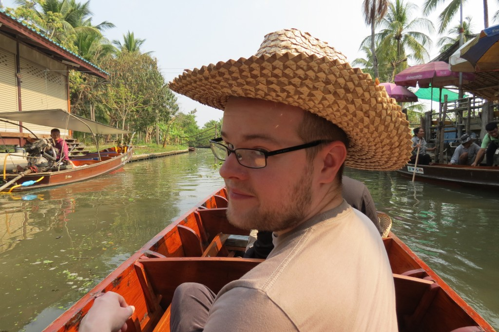 Our sampan ride to the coconut sugar factory included headgear!