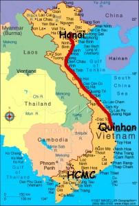 Route of train from QhiNhon to Hanoi
