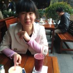 """Lisa with our """"smoothiies"""" at Fresh Element Restaurant"""