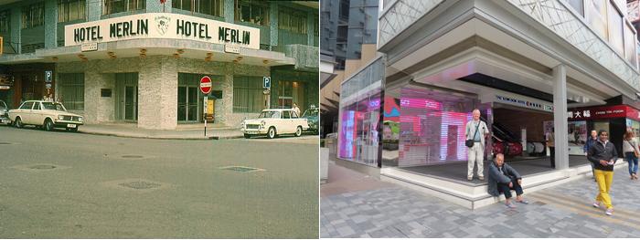 Left: Hotel Merlin 1969, Right: Hotel Kowloon, 2014