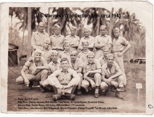 US Marines on Guadalcanal (Dad, 2nd from left in rear)